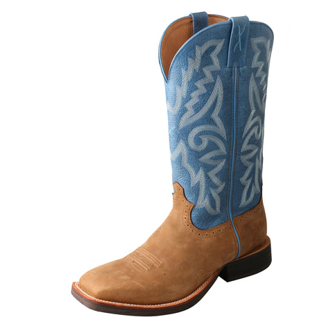 Twisted X Ruff Stock Tan/Sky Blue Mens Leather Cowboy Boots 14in