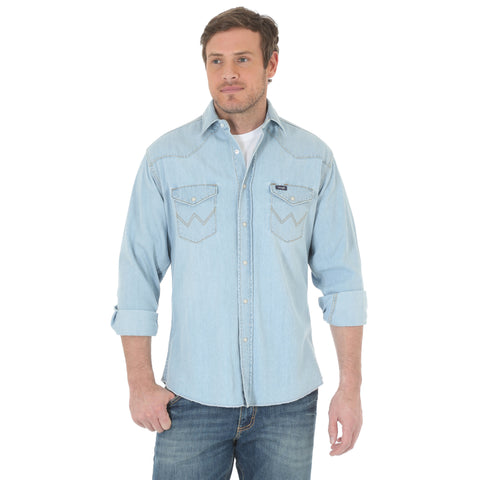 Wrangler Mens Medium Beach Blue 100% Cotton Cowboy L/S Shirt