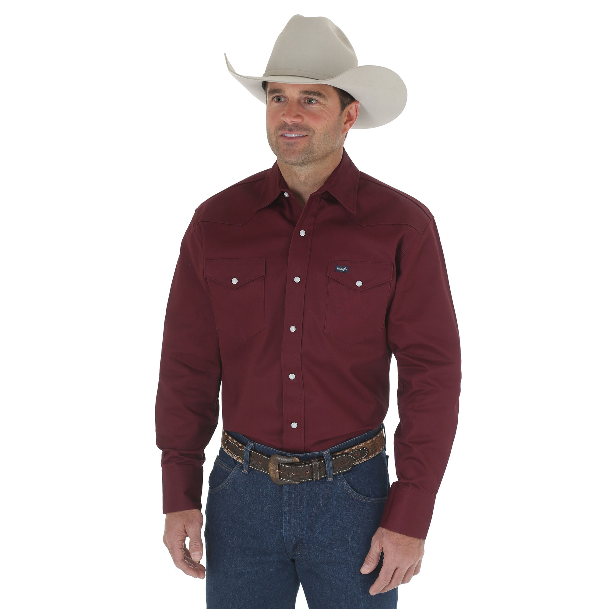 Wrangler Red Oxide 100 Cotton Mens Work Western L S Shirt