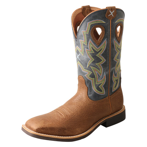 Twisted X Top Hand Peanut/Navy Mens Leather Cowboy Boots Distressed