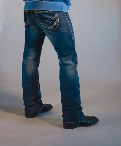 B Tuff Mens Blue Cotton Denim Jeans Strong Faded Torque