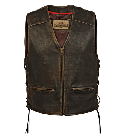 Milwaukee Crazy Horse Mens Motorcycle Vest Black Leather