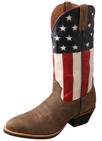 Twisted X Mens Bomber Leather USA Flag 13in Western Cowboy Boots