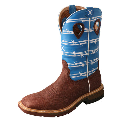 Twisted X Western Burgundy/Sky Blue Mens Leather Work Boots 12in AT