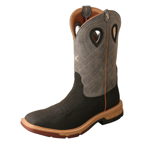 Twisted X Western Brown/Grey Mens Leather Work Boots 12in AT