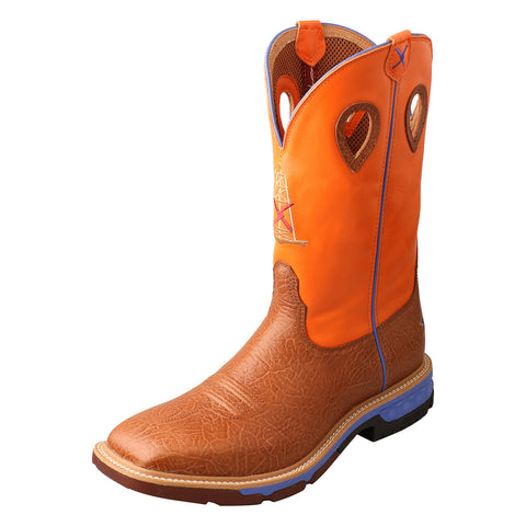 Twisted X Western Tan/Orange Mens Leather Work Boots 12in AT