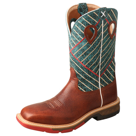 Twisted X Western Cognac/Dark Green Mens Leather Work Boots 12in AT