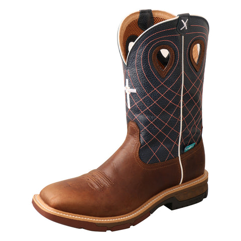 Twisted X Western Mocha/Navy Mens Leather Work Boots 12in CellStretch