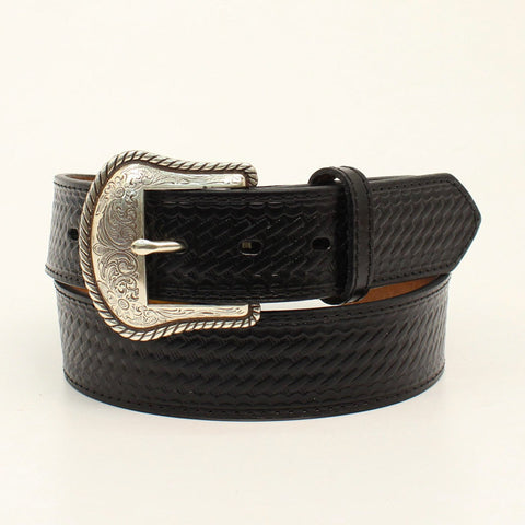 Nocona Black Leather Mens Basketweave Etched Belt 48