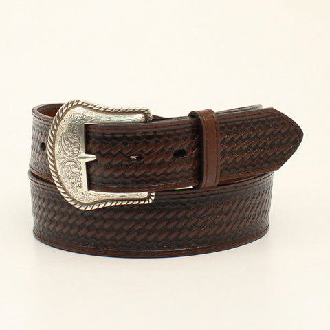 Nocona Brown Leather Mens Basketweave Etched Belt 34