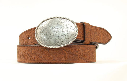Nocona Medium Brown Leather Mens Western Embossed Belt 42