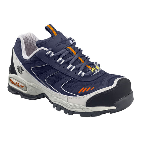 Nautilus Mens Steel Toe Athletic XXW Blue Nylon Leather Shoes