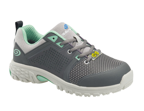 Nautilus Womens Grey/Mint Mesh Alloy Toe 1355 Zephyr ESD Work Shoes