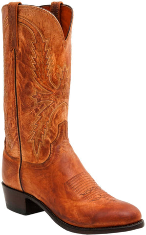 Lucchese Mens Cowboy Boots Tan Mad Dog Goat Leather