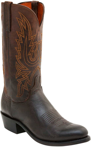 Lucchese Mens Cowboy Boots Chocolate Burnished Goat Leather