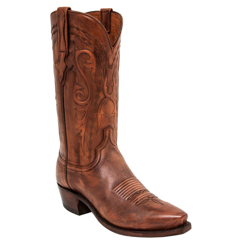 Lucchese Mens Cowboy Boots Antique Whiskey Burnished Cowhide
