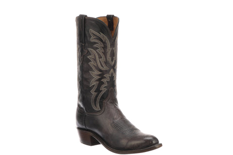 Lucchese Mens Cowboy Boots Dark Brown Distressed Goat
