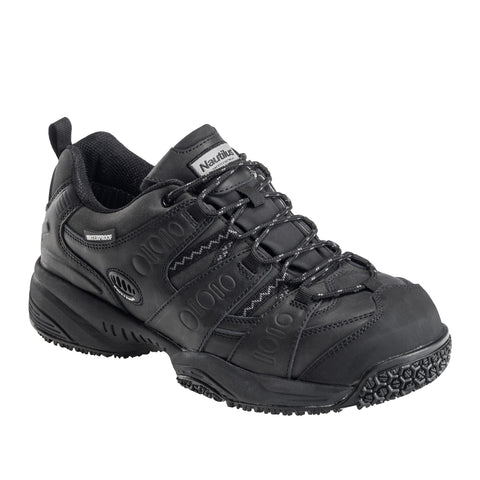 Nautilus Mens Black Leather/PU Comp Toe WP EH Work Shoes