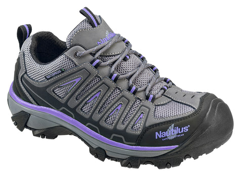 Nautilus Womens Steel Toe EH WP Athletic M Grey Nubuck Leather Shoes
