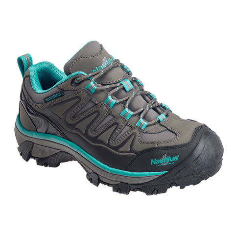 Nautilus Womens Grey/Aqua Leather Steel Toe WP EH Hiker Work Shoes