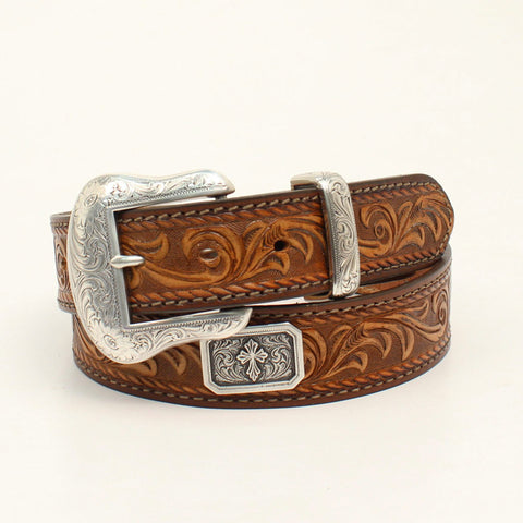 Nocona Light Brown Leather Mens Floral Prescott Belt