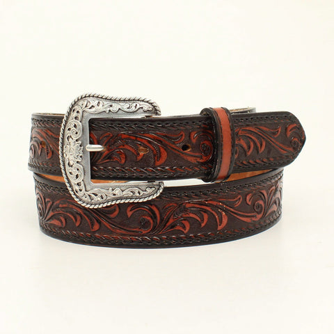 Nocona Black/Tan Leather Mens Floral Tucson Belt