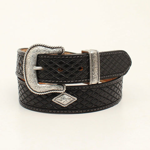 Nocona Black Leather Mens Crosshatch Fort Worth Belt