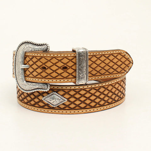 Nocona Natural Leather Mens Crosshatch Fort Worth Belt