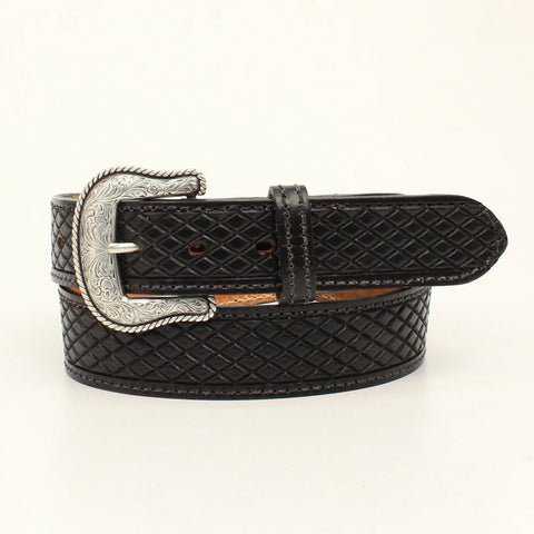 Nocona Black Leather Mens Crosshatch Huntsville Belt
