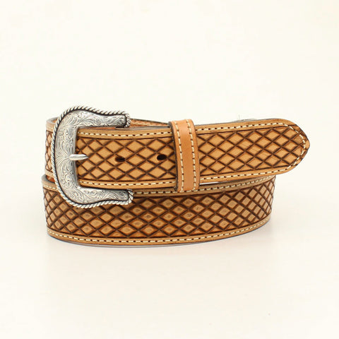 Nocona Natural Leather Mens Crosshatch Huntsville Belt