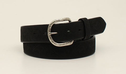 Nocona Black Leather Mens Western Scroll Belt 38
