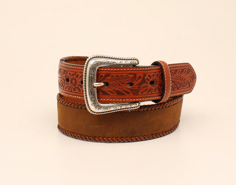 Nocona Medium Brown Leather Mens Tooled Tabs Belt 38