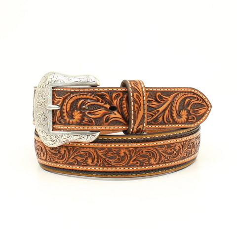 Nocona Tan Leather Mens Embossed Scroll Tooled Belt 42