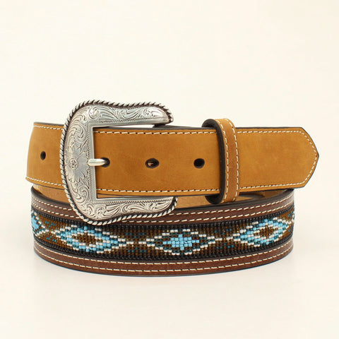 Nocona Medium Brown Leather Mens Multi Beads Aztec Belt