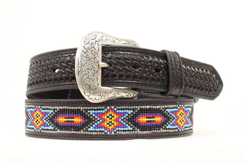 Nocona Black Leather Mens Multi-Colored Beads Belt 40