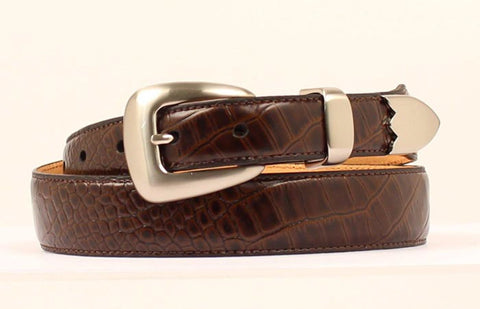 DBL Barrel Brown Leather Mens Gator Style Belt 34