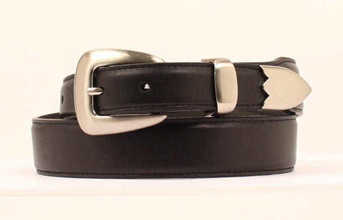 Nocona Black Leather Mens Silver Tapered Belt 38