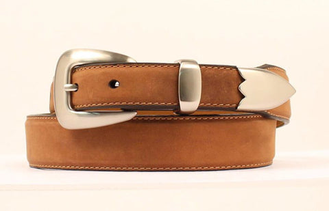 Nocona Medium Brown Leather Mens Silver Tapered Belt 38