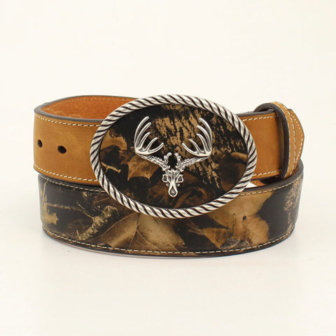 Nocona Mossy Oak Leather Mens Deer Skull Bark Belt