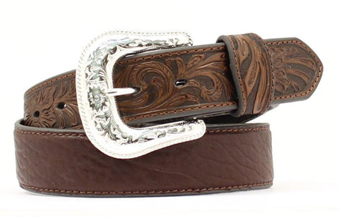 Nocona Brown Bullhide Mens Embossed Belt 44