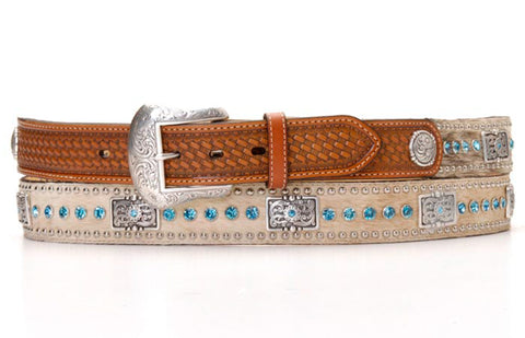 Nocona Natural Leather Mens Calf Hair Blue Rhinestone Belt 32