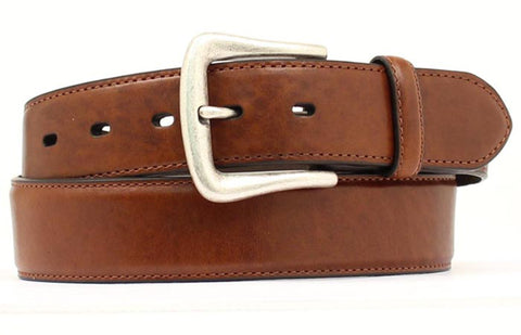 Nocona Brown Leather Mens Plain Overlay 1.5in Belt 42