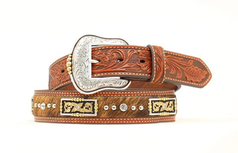 Nocona Tan Leather Mens Calf Hair Rhinestones Belt 34