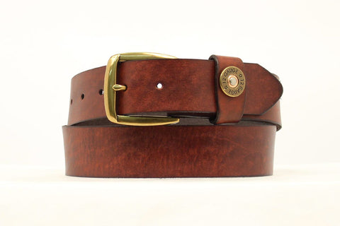 Nocona Brown Leather Mens Bullet Keeper Belt 38