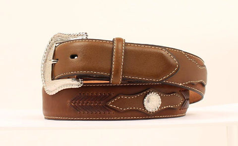 Nocona Brown Leather Mens Lacing Conchos Belt 38