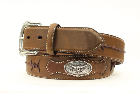 Nocona Medium Brown Leather Mens Longhorn Conchos Belt