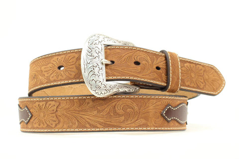 Nocona Medium Brown Leather Mens Ribbon Inlay Tooled Belt 36