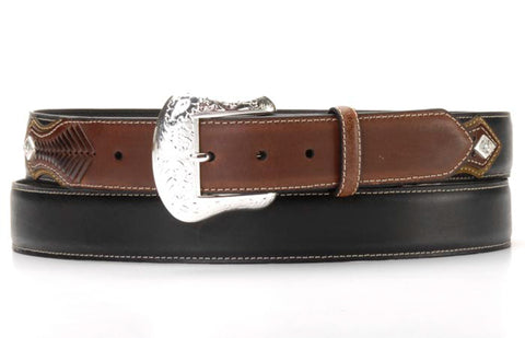 Nocona Black/Brown Leather Mens Silver Concho Arrow Belt 36