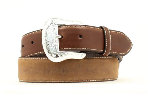 Nocona Medium Brown Leather Mens Silver Buckle Belt 34