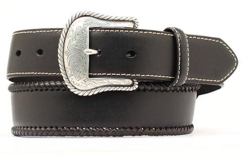 Nocona Black Leather Mens Silver Buckle Belt 38